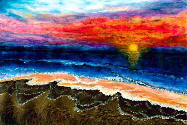 Sunset Art Print featuring the painting Sunset After the Storm by Tanna Lee M Wells