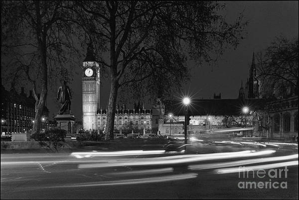Westminster Palace Art Print featuring the photograph Westminster Night Traffic by Aldo Cervato