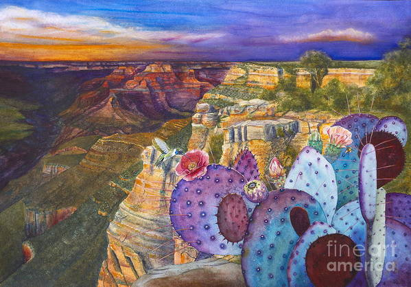 Canyon Art Print featuring the painting South Rim Wonders by Jany Schindler