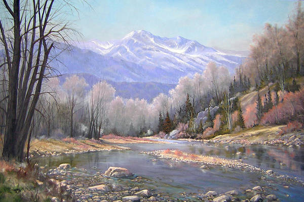 Landscape Art Print featuring the painting 060521-3624 Spring In The Rockies by Kenneth Shanika