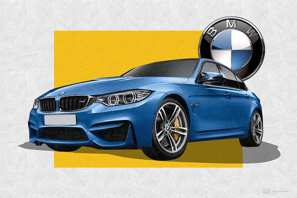 �bmw� Collection By Serge Averbukh Art Print featuring the photograph 2016 B M W M 3 Sedan with 3 D Badge by Serge Averbukh