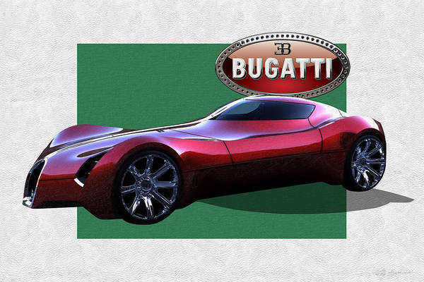 �bugatti� By Serge Averbukh Art Print featuring the photograph 2025 Bugatti Aerolithe Concept with 3 D Badge by Serge Averbukh