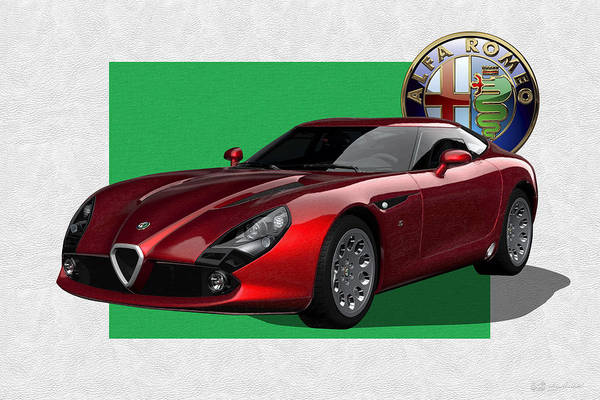 �alfa Romeo� By Serge Averbukh Art Print featuring the photograph Alfa Romeo Zagato T Z 3 Stradale With 3 D Badge by Serge Averbukh