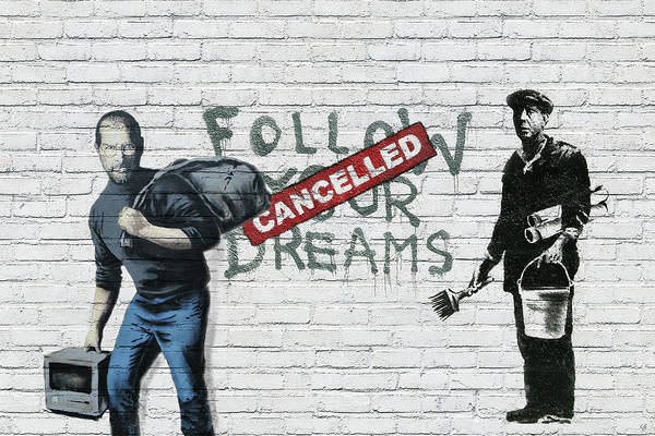 'urban Graffiti' Collection By Serge Averbukh Art Print featuring the photograph Banksy - The Tribute - Follow Your Dreams - Steve Jobs by Serge Averbukh