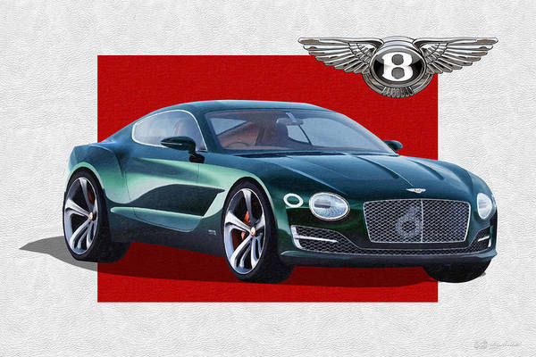 �bentley� Collection By Serge Averbukh Art Print featuring the photograph Bentley E X P 10 Speed 6 with 3 D Badge by Serge Averbukh