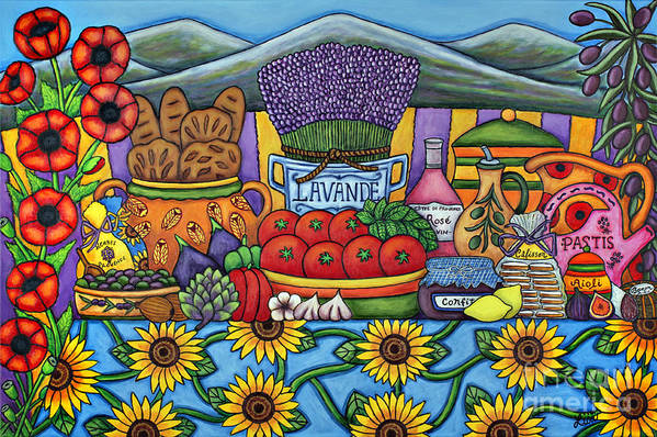 Provence Art Print featuring the painting Flavours of Provence by Lisa Lorenz