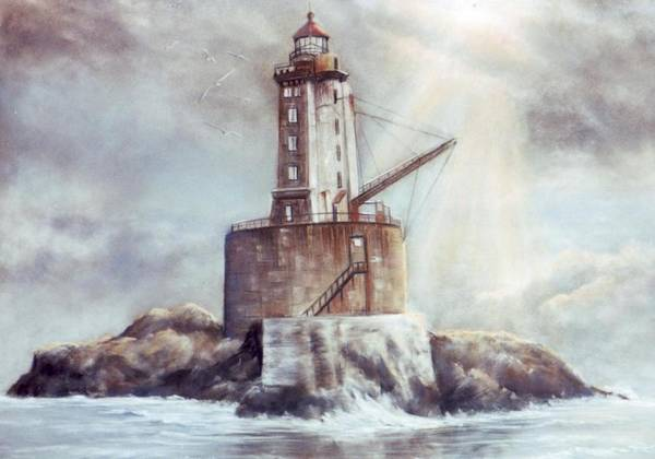 Lighthouse Art Print featuring the painting Point St. George Reef Lighthouse by Lynne Parker