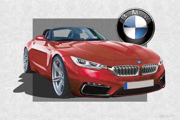 �bmw� Collection By Serge Averbukh Art Print featuring the photograph Red 2018 B M W Z 5 with 3 D Badge by Serge Averbukh