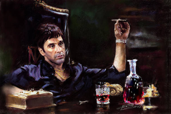 Al Pacino Art Print featuring the pastel Scarface by Ylli Haruni