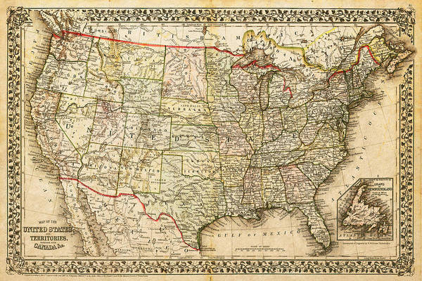 1860 Map of the United States and Territories Together with Canada ...