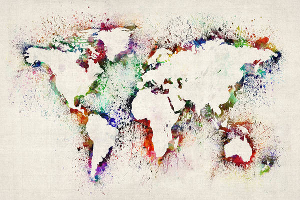 Map Of The World Art Print featuring the digital art Map of the World Paint Splashes by Michael Tompsett