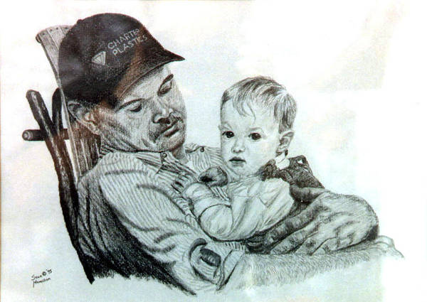 Pencil Art Print featuring the drawing John and Megan by Stan Hamilton