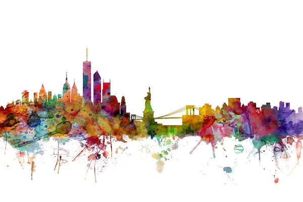 United States Art Print featuring the digital art New York Skyline by Michael Tompsett
