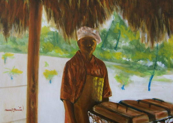 Food Service Worker On Island In The Caribbeans Art Print featuring the painting Untitled 4 by Howard Stroman