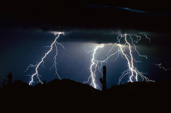 Landscape Art Print featuring the photograph 4 Lightning Bolts Fine Art Photography Print by James BO Insogna