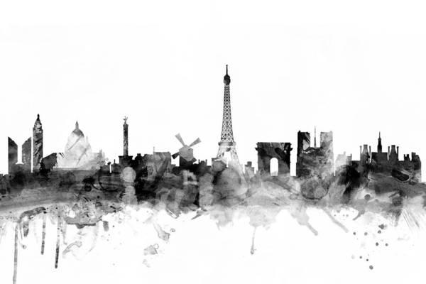 Paris Art Print featuring the digital art Paris France Skyline by Michael Tompsett
