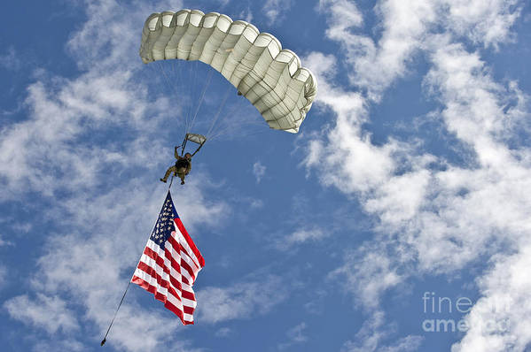 Flag Art Print featuring the photograph A U.s. Air Force Member Glides by Stocktrek Images