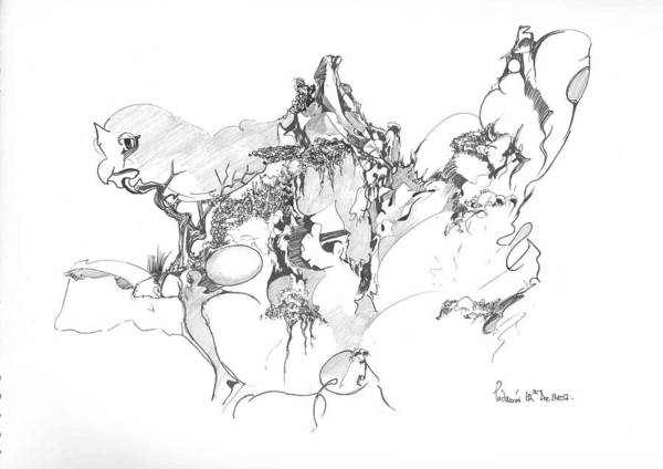 Abstract Art Print featuring the drawing Abstract forms by Padamvir Singh