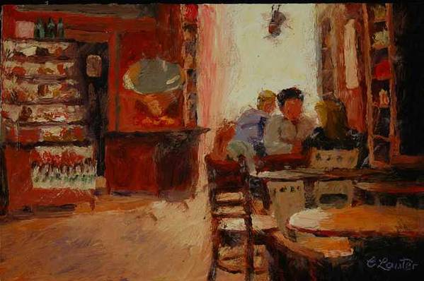 Interior At Coffee Shop Art Print featuring the painting Afternoon Espresso by Colleen Murphy
