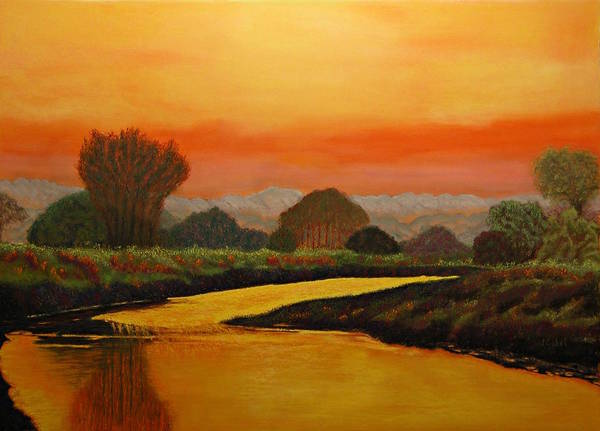Landscape Art Print featuring the pastel Alan's Peaceful Place by Laura Gabel
