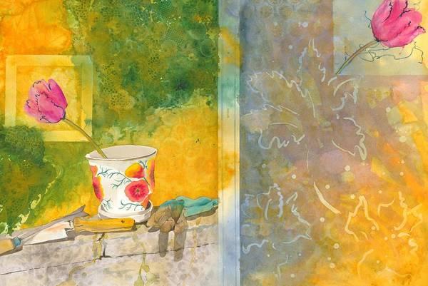 Garden Art Print featuring the painting Along The Garden Wall by Jean Blackmer