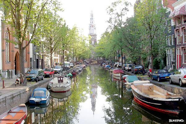 Amsterdam Art Print featuring the digital art Amsterdam Canal by Al Blackford