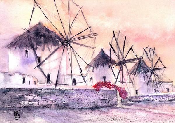 Windmills Art Print featuring the painting Ancient Windmills Of Mykonos Greece by Sabina Von Arx