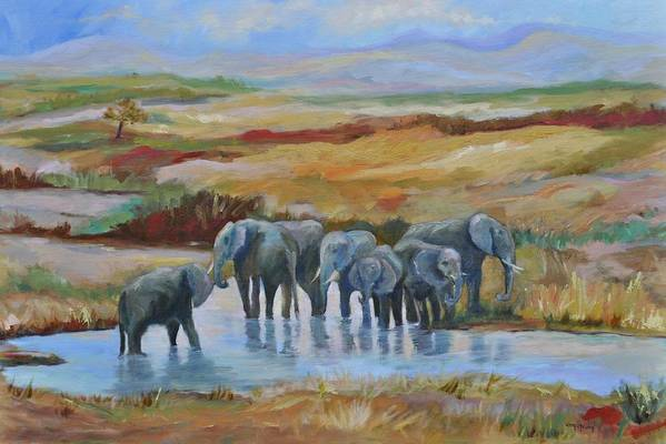 Elephants At Oasis Art Print featuring the painting At the Oasis by Ginger Concepcion