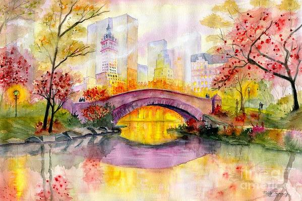 Autumn At Gapstow Bridge Central Park Art Print featuring the painting Autumn at Gapstow Bridge Central Park by Melly Terpening