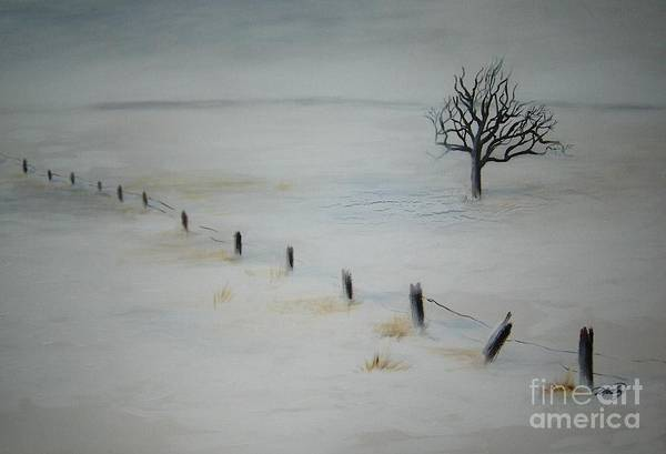 Landscape Art Print featuring the painting Bare Tree by Vi Mosley