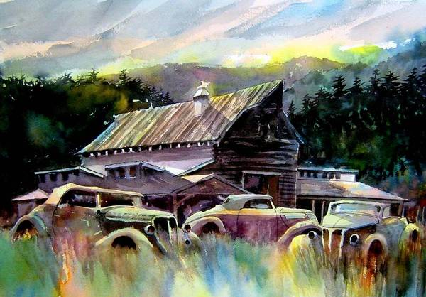 Barn Fresh Cabriolets 37 Fords...barn Art Print featuring the painting Barn Fresh Cabriolets by Ron Morrison