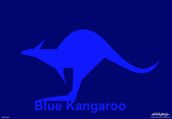 Art Print featuring the digital art Blue Kangaroo by Asbjorn Lonvig