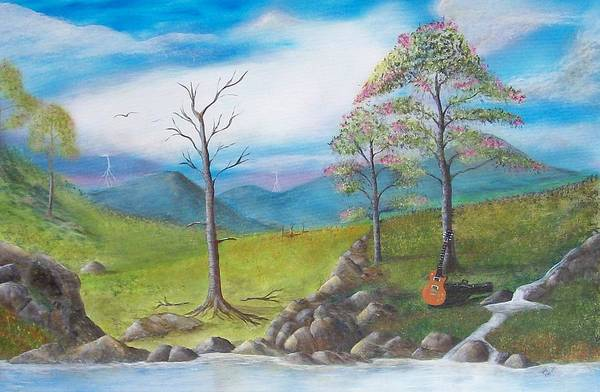 Landscape Art Print featuring the painting Blue River by Tony Rodriguez