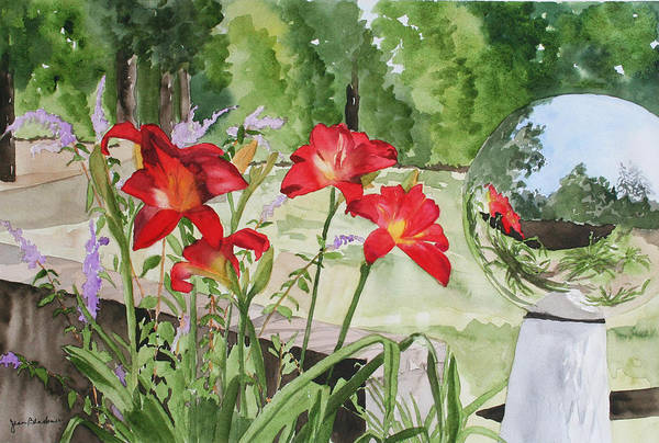Flowers Art Print featuring the painting Blue Sky Reflections by Jean Blackmer