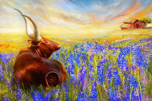 Texas Longhorn Art Print featuring the painting Bluebonnet Dream - Bluebonnet Paintings by Lourry Legarde