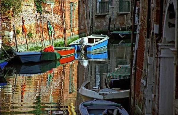 Venice Art Print featuring the photograph Boats on Canal in Venice by Michael Henderson