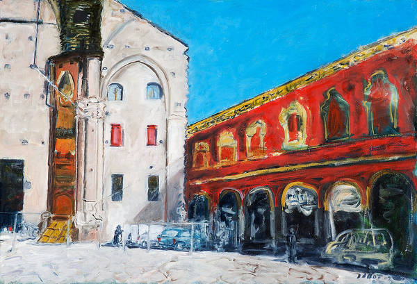 Cityscape Square Church Gallery White Red Blue Sky Art Print featuring the painting Bologna Plaza by Joan De Bot