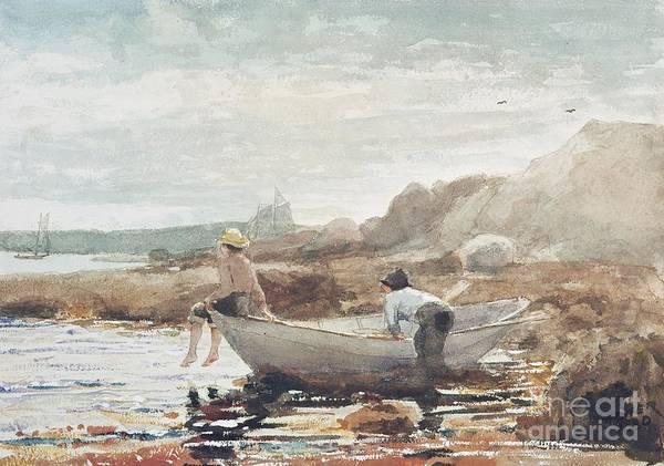 Boys On The Beach Art Print featuring the painting Boys on the Beach by Winslow Homer