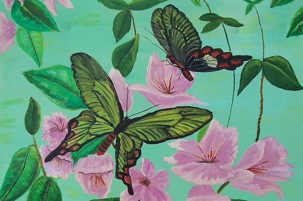 Butterfly Art Print featuring the painting Butterflies In Flight by Martha Mullins