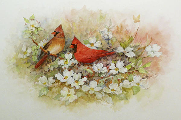 Birds Art Print featuring the painting Cardinals and Dogwood by Lois Mountz