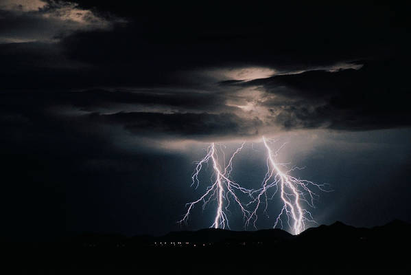 Arizona Art Print featuring the photograph Carefree Lightning by Cathy Franklin
