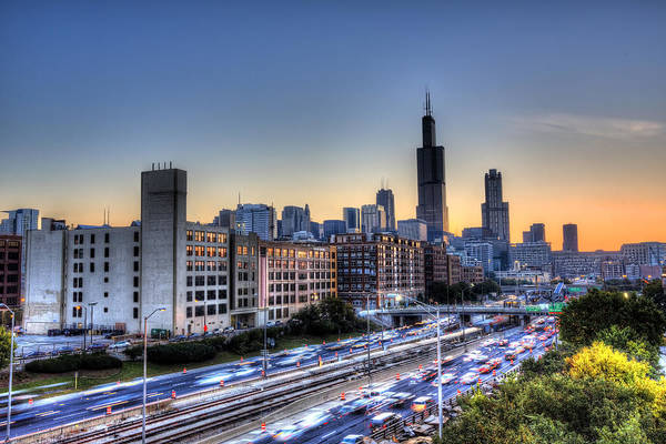 Chicago Art Print featuring the photograph Chicago Sunrise Rush Hour by Shawn Everhart
