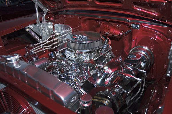Auto Art Print featuring the photograph Chrome Red and Powerful by Richard Henne