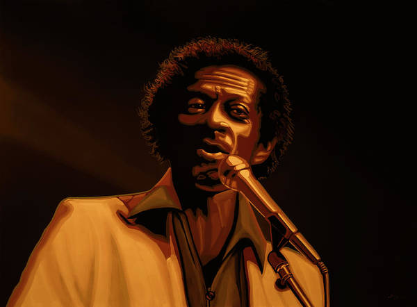 Chuck Berry Art Print featuring the mixed media Chuck Berry Gold by Paul Meijering