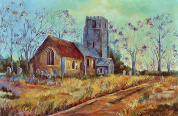 English Churches Art Print featuring the painting Church in Suffolk by Ginger Concepcion