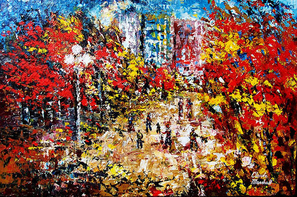 Abstract Art Print featuring the painting City Park by Claude Marshall