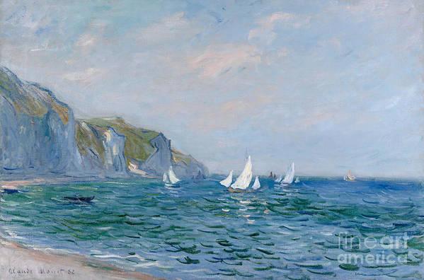 Cliffs And Sailboats At Pourville Art Print featuring the painting Cliffs and Sailboats at Pourville by Claude Monet