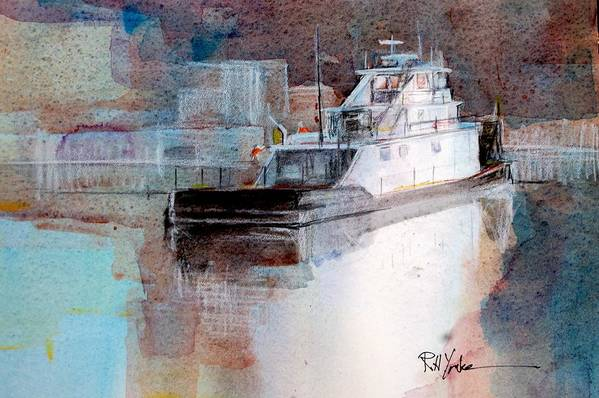 Barge Art Print featuring the painting Cold River by Robert Yonke