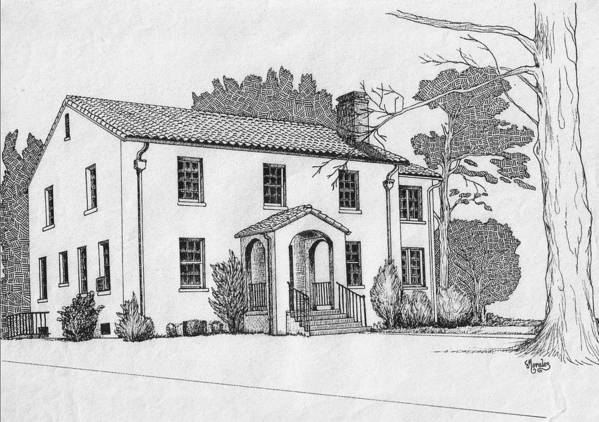 Drawing - Pen And Ink Art Print featuring the drawing Colonel Quarters 2 - Fort Benning GA by Marco Morales