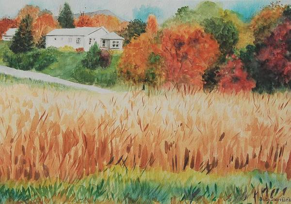 Autumn Art Print featuring the painting Cornfield in Autumn by Judy Swerlick